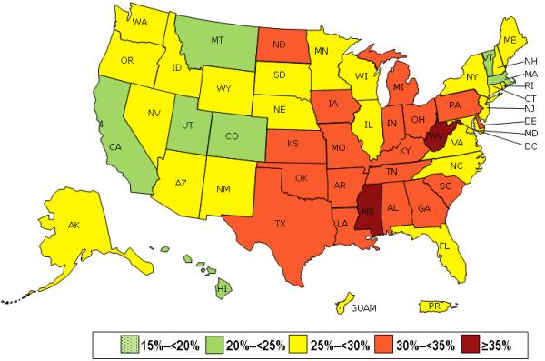 美国肥胖流行地图。 来自疾控中心。