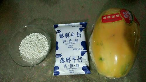 牛奶红豆木瓜西米露